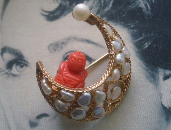 Swoboda signed Genuine Coral and Pearl Carved Buddha Swinging from a Crescent Moon Brooch EXTREMELY RARE *SOLD*