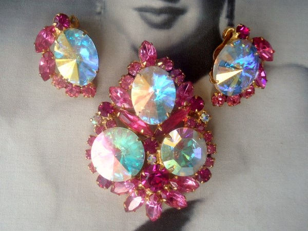 DeLizza and Elster a/k/a Juliana Aurora Borealis Rivoli Brooch Pendant and Earring Demi Parure