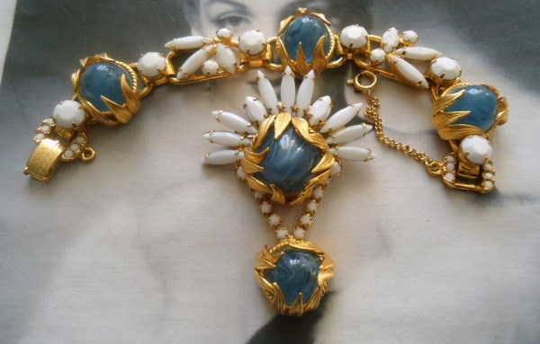 DeLizza and Elster a/k/a Juliana Flawed Glass Steel Blue Cabochons w/ Venus Flames Metal Leaf Accents Dangle Brooch and Bracelet Verified