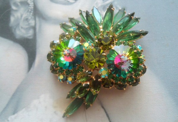 DeLizza and Elster a/k/a Juliana Tiered Heliotrope Margarita Owl Brooch Figural (First Seen in 1964)