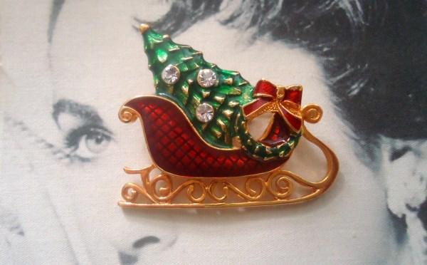 Eisenberg Ice Signed Guilloche Enamel Santa Sleigh Figural Brooch Festive and Elegant