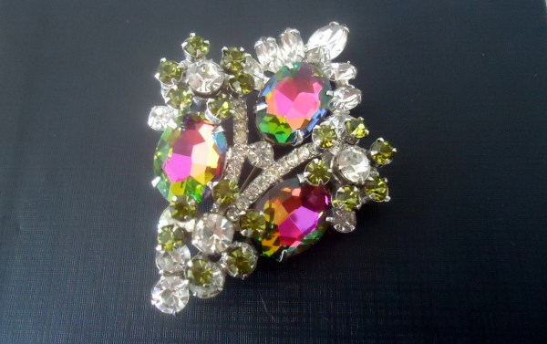 DeLizza and Elster a/k/a Juliana Huge Watermelon Rainbow Heliotrope Brooch EXTREMELY RARE