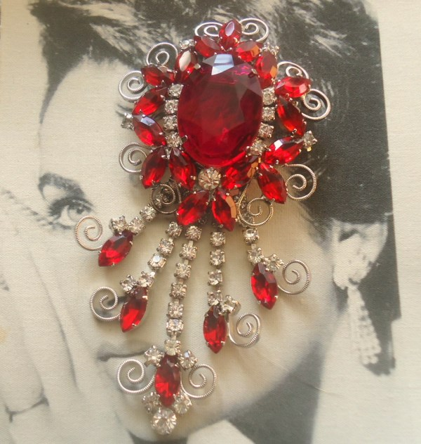 DeLizza and Elster a/k/a Juliana Ruby Red Dangle Brooch with Scroll work HUGE and ELEGANT