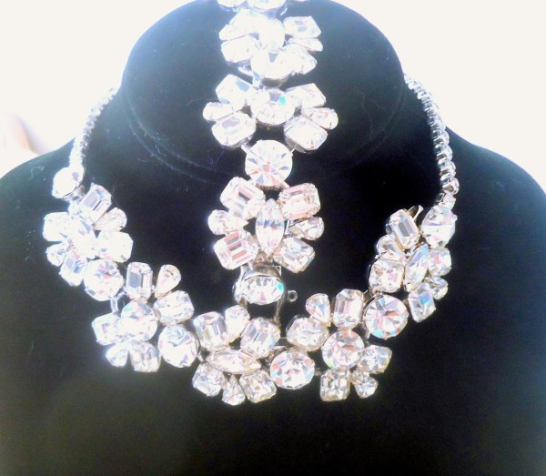 DeLizza and Elster a/k/a Juliana 5 Link Clear Rhinestone Splendor Necklace and Bracelet Demi Parure VERY RARE Red Carpet Showstoppers