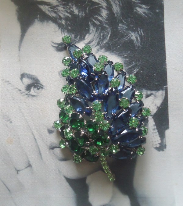 DeLizza and Elster a/k/a Juliana Huge Open Back Sapphire Hexagon Glass Stone Brooch