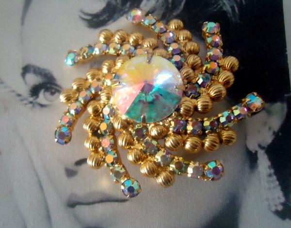 DeLizza and Elster a/k/a Juliana Open Back Aurora Borealis Rivoli Ball Chain Pinwheel Starburst Brooch