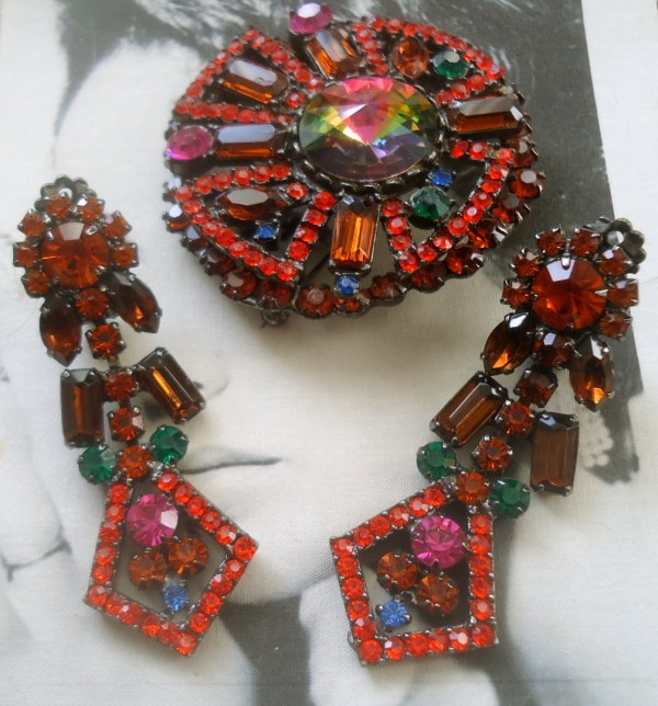 DeLizza and Elster a/k/a Juliana Geometric Neon Tiered Brooch and Dangle Earring Demi Parure Brooch is very RARE and hard to find