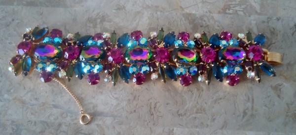 DeLizza and Elster a/k/a Juliana Heliotrope Watermelon Raindow Art Glass Stone Bracelet HUGE AND FABULOUS Rare