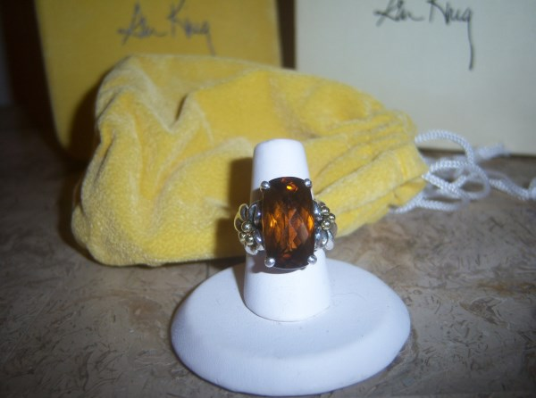 Ann King Signed 7kt Beveled Cinnamon Checkerboard Faceted Quartz 18kt Gold Accents in Original Boxes and Pouch Size 6