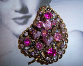 Made In Austria Heart Shaped Art Glass Stone Brooch *SOLD*