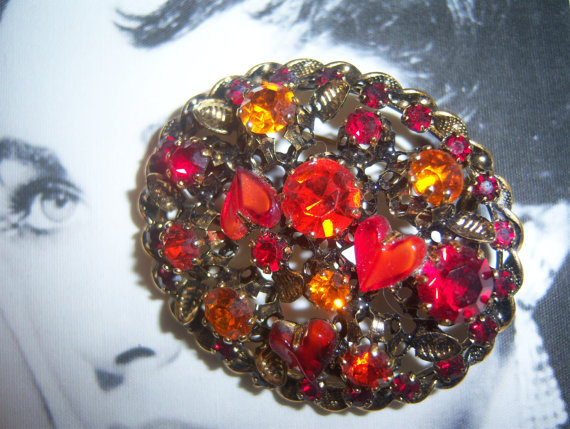 Made in Austria Signed Red Heart Shaped Art Glass Brooch