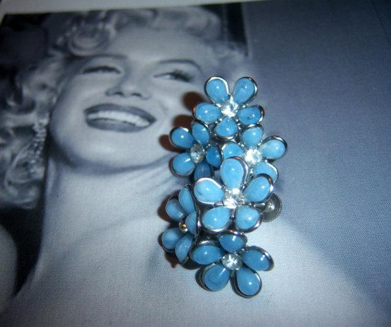 Coro Signed Blue Flower earrings