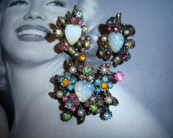 Coro Signed Opalescent Brooch and Earring Demi Parure