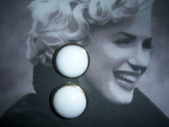 Coro Signed White Domed Cabochon Button Earrings (1950's)