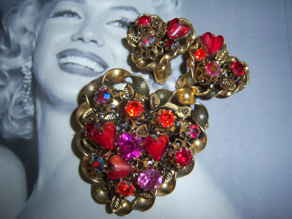 Made in Austria Signed Heart Art Glass Brooch and Earring Demi Parure