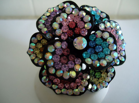 Diamante Flower Statement Ring