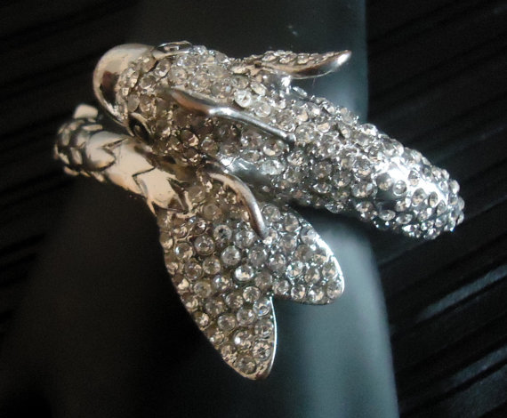 Rhinestone Encrusted Fish Statement Runway Cocktail Clamper Bracelet