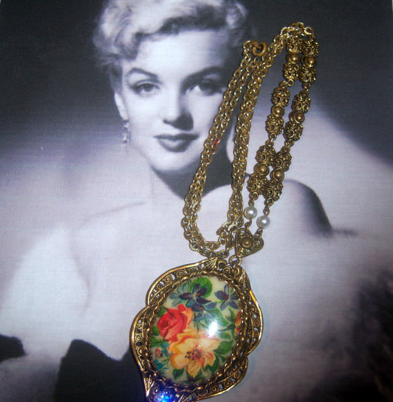 Made in West Germany Signed Glass Cabochon Floral Transfer Necklace