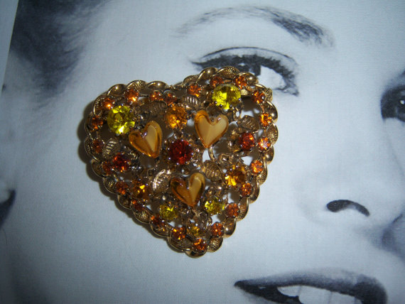 Made in Austria Signed Yellow Heart Shaped Art Glass Heart Brooch