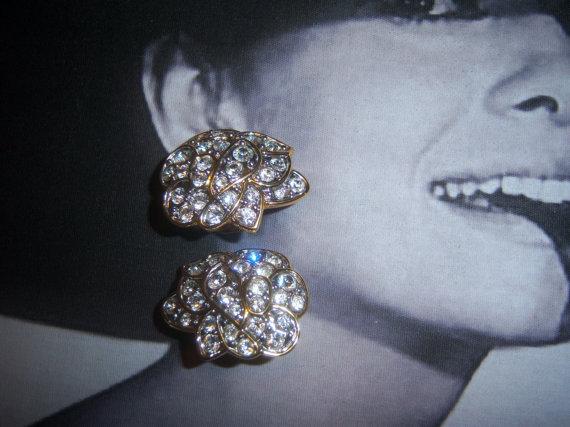 Nolan Miller Signed Austrian Crystal Earrings