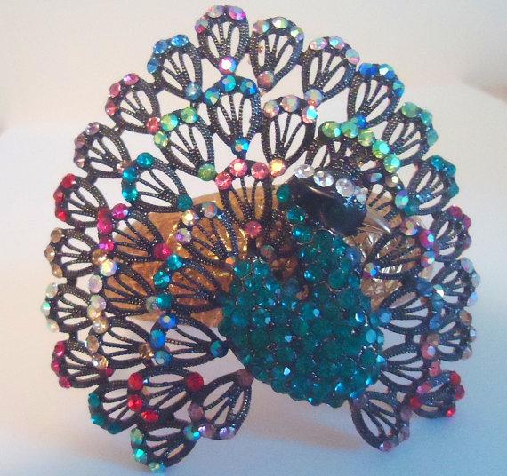 Peacock Statement Bangle Bracelet