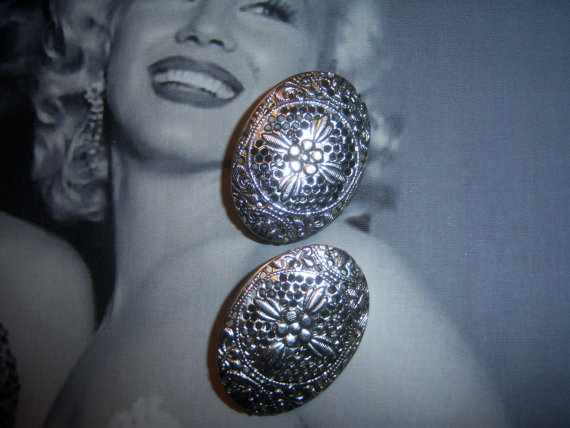 Whiting and Davis Signed Silver tone Filigree Earrings *SOLD*